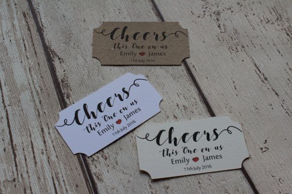 Personalised Wedding favour drink tokens-Cheers this one on us