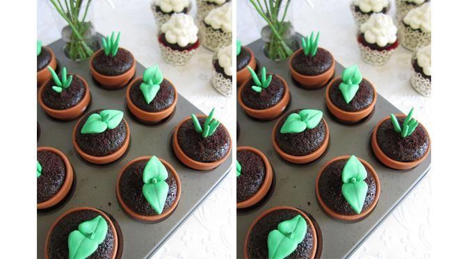 Cupcake Desain Tanaman Dalam Pot