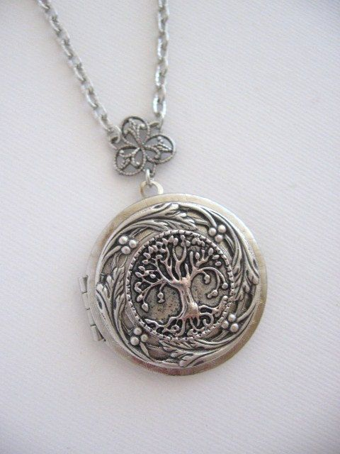 Tree of Life LOCKET Family Tree Silver Locket by CharmedValley, $25.00