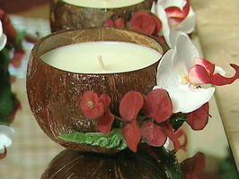 Charles' Coconut Candles    Design on a Dime design coordinator Charles Burbridge details the steps for making coconut-shell candles.