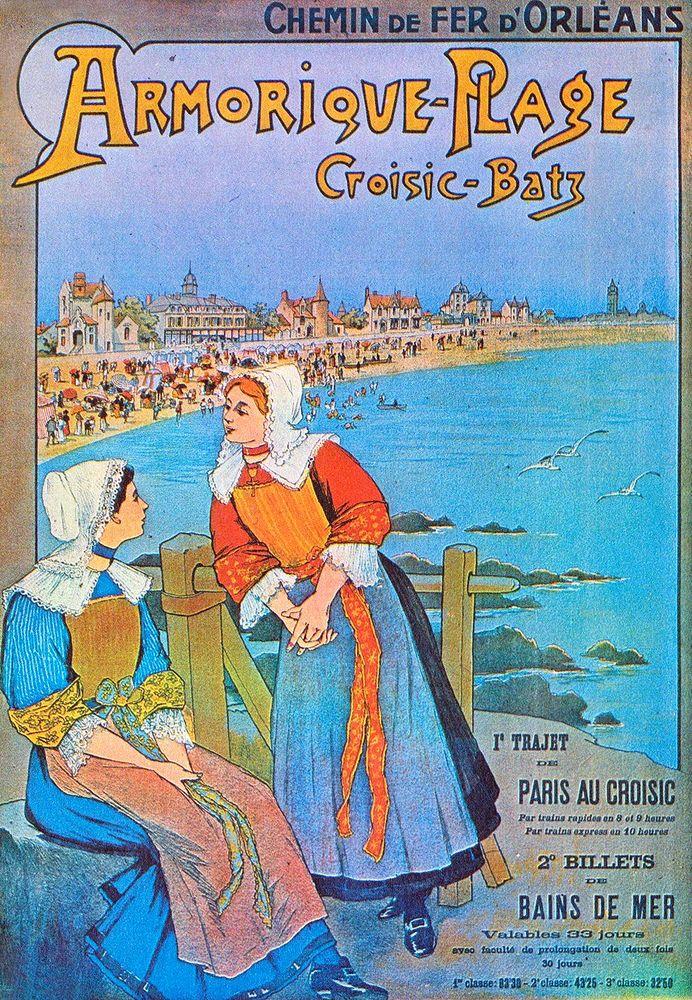 Affiche chemin de fer Orléans - Croisic Batz - Armorique Plage - France -