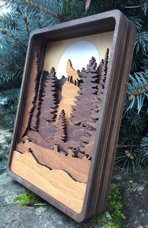 3D Laser Cut Shadow Box Howling Wolf and Moon Wood Scene Inlaid / Pacific Northwest / Wolf / Trees / Moon / Handcrafted / Mountains