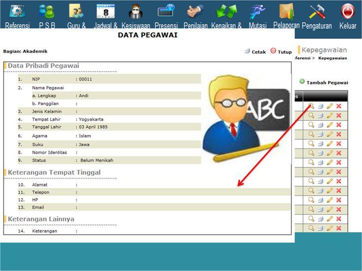 Tampilan menu untuk melihat detal data pegawai