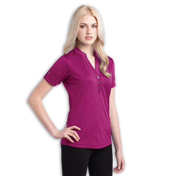 Gaze Polo BRAND: OGIO has 3-snap placket with OGIO debossed ring snaps and OGIO heat transfer label for tag free comfort