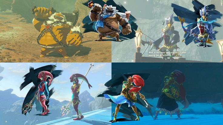 The champions strike familiar poses in their new cutscenes [x-post from r/breath_of_the_wild] http://bit.ly/2lnzap3 #nintendo