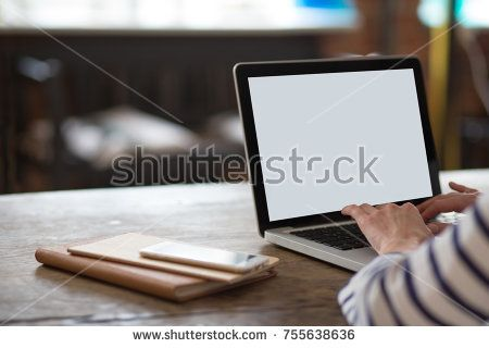 Woman's hands on keyboard. Laptop mock up. Distance learning or work from home.
