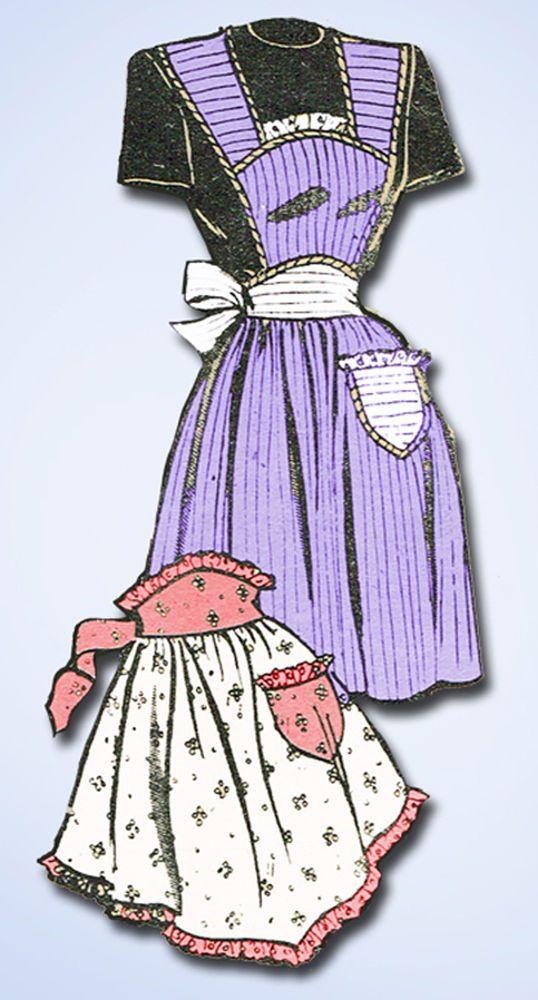 1940s Vintage Marian Martin Sewing Pattern 9307 Misses Full Bib Apron Sz 36 38 B…