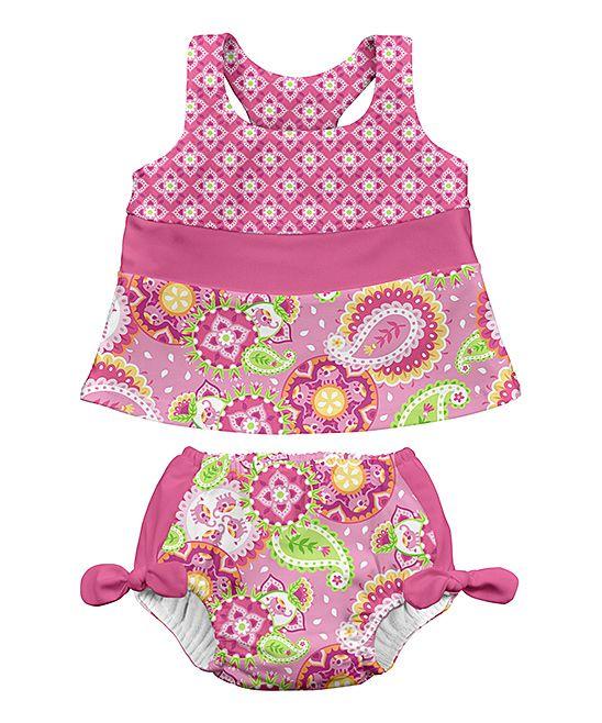 Pink Tankini & Built-in Reusable Swim Diaper - Infant & Toddler