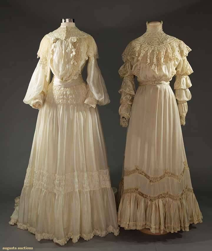 Two Edwardian silk wedding or garden party dresses, 1905-1910. Augusta Auction, lot: 200.