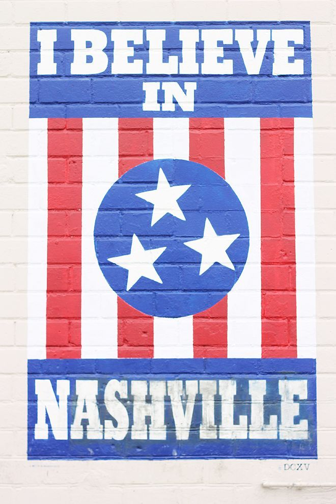 """The iconic """"I Believe In Nashville"""" mural in Howell's Alley off 12th Avenue South."""