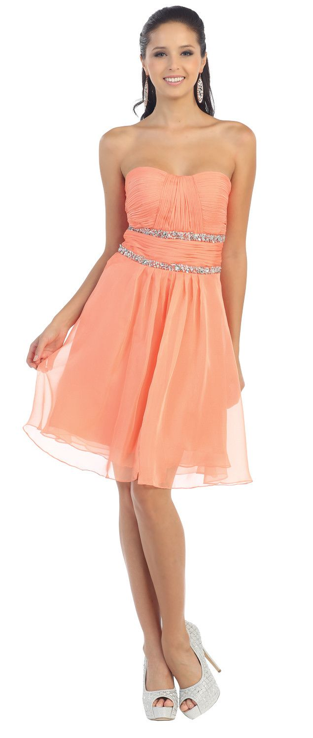 Stunning Short Strapless Homecoming Dress Coral