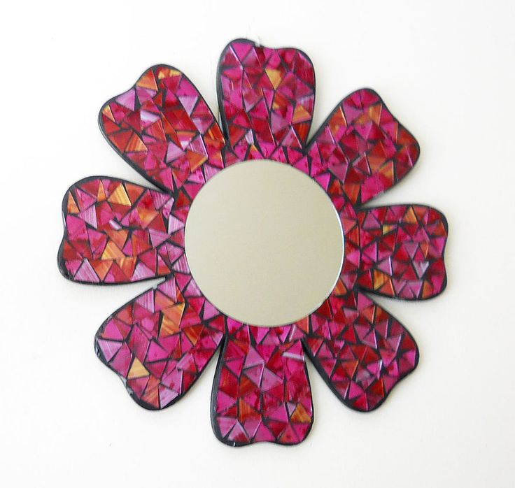 """Handmade of high quality mosaic glass and handcrafted with details. Large and heavy. Dimensions: 15""""Diameter (6.5"""" mirror diameter). This awesome wall art will add a special touch to any room. Add it to your Home decor. 