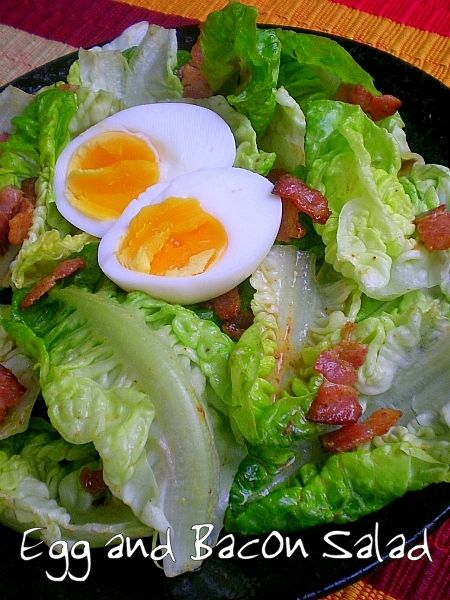Egg and bacon salad for one, a reduction of Nigella's large recipe.