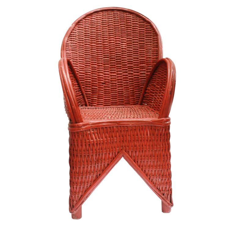 red wicker chair handmade in morocco