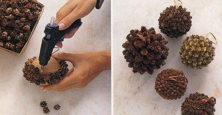 елочные украшения из сосновых шишек