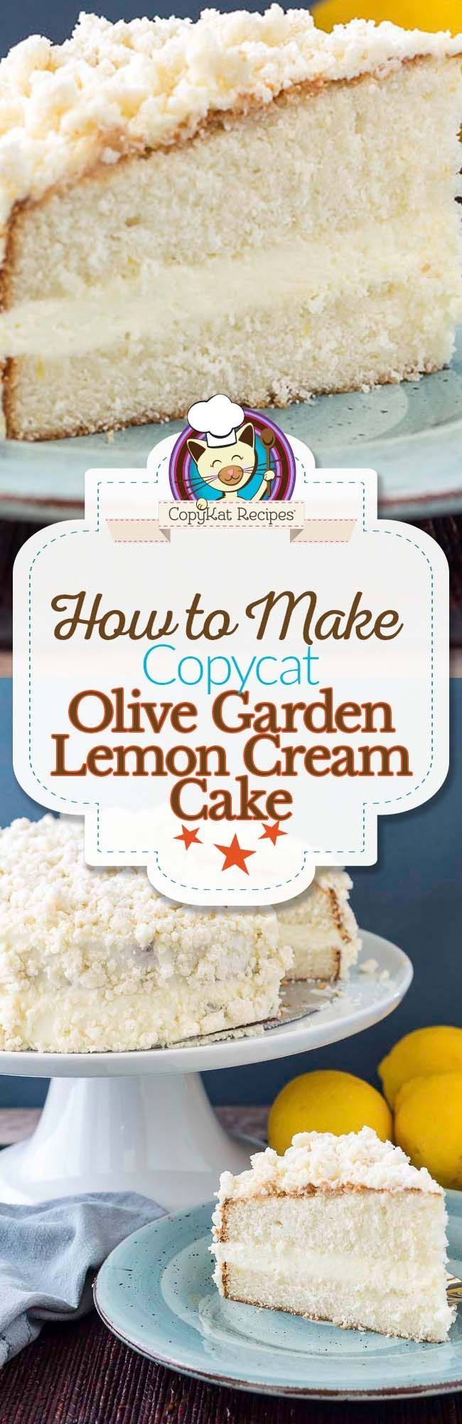 Make your own delicious Olive Garden Lemon Cream Cake with this copycat recipe.