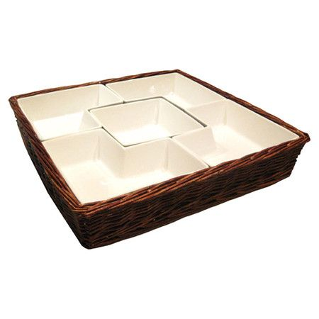 6-piece willow and earthenware chip and dip set with interlocking bowls.      Product: 4 Chip bowls, 1 dip bowl, and 1 basket