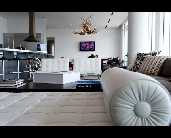 White leather furniture..beautiful.  I wish they made a white leather bed!!
