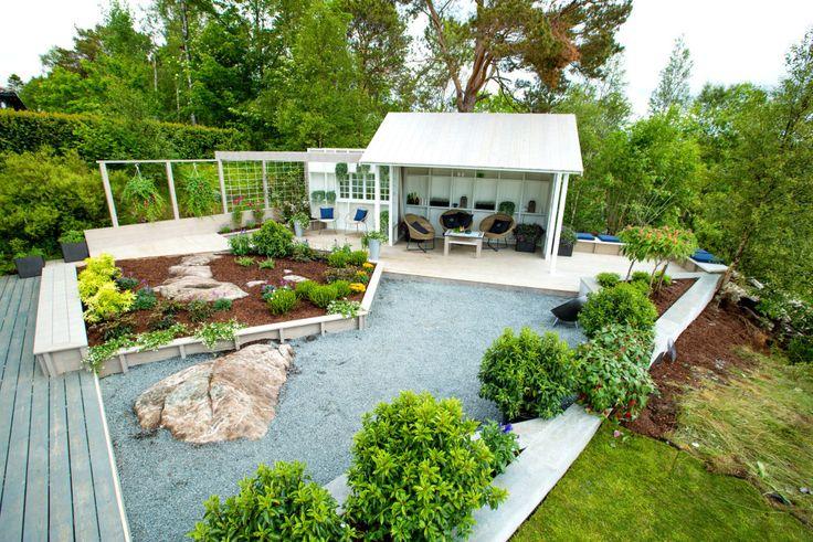 DEN FERDIGE HAGEN: Slik ble den romantiske hagen til Petter og Laila seende ut til slutt. FOTO: TID FOR HJEM / TV 2