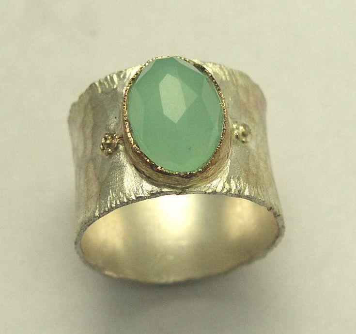 Jade ring gouden Zilveren ring ring van de twee door artisanlook