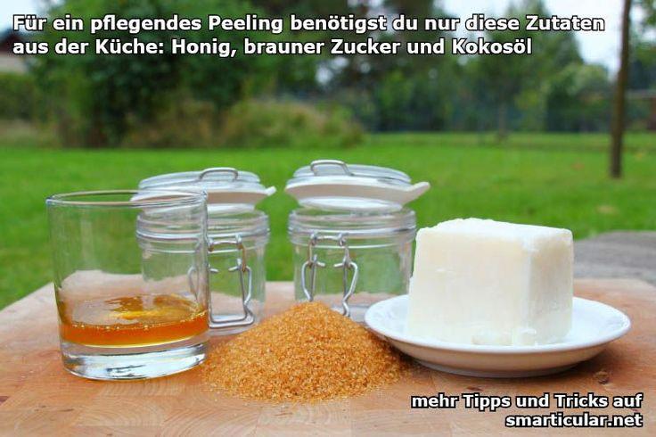 Kokosöl-Zucker Peeling selbstgemacht - soeben ausprobiert und für super befunden. Die Haut fühlt sich weich und gepflegt an. Außerdem riecht sie auch noch toll!