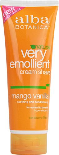 Alba Botanica® Very Emollient Cream Shave Mango Vanilla.  Alba Botanica prides itself on making natural, organic and cruelty-free products which are 100% vegetarian