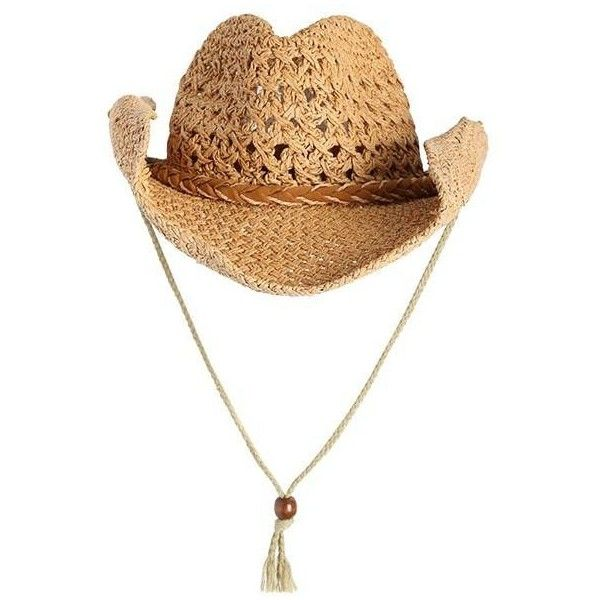 Cowboy Curled Brim Woven Straw Hat ($7.39) ❤ liked on Polyvore featuring men's fashion, men's accessories, men's hats, mens western straw hats, mens cowboy hats, mens western hats, mens straw hats and mens straw cowboy hats