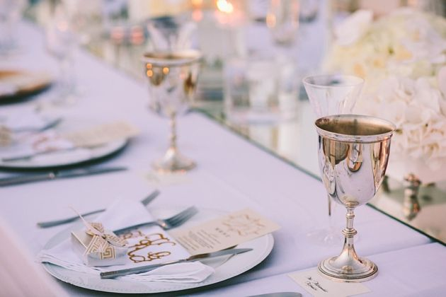 Gold and Silver Wedding Theme for a Wedding in Santorini - La Maltese -  by Stella And Moscha