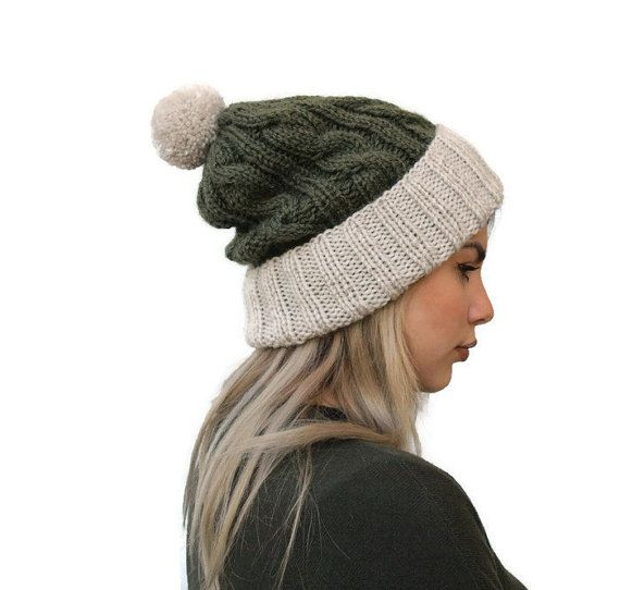 Pom Pom Hat Beanie Hat Rolled Brim Hat Cable knit by PepperKnit