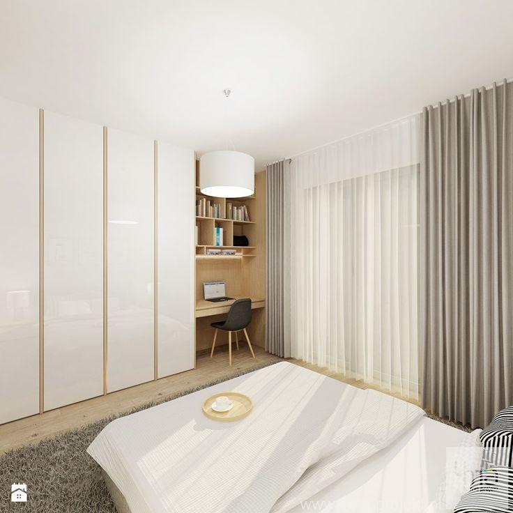 Projekt mieszkania 53 m2 na Żoliborzu - Średnia sypialnia małżeńska, styl nowoczesny - zdjęcie od 4ma projekt