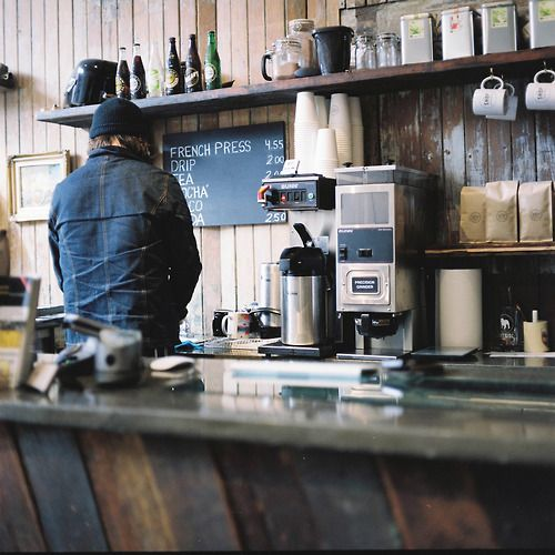 a wonderful morning scene: coffee and reclaimed wood.