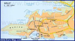 Карта города Сплит (Хорватия)