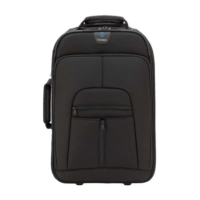 £216 Tenba Roadie II: Large Rolling Photo/Laptop Case - Heavy-duty, five-section handle extends to full, comfortable walking height, easing the strain on your back and shoulders when wheeling through long airport stretches.  Built with the finest materials available: Weatherproof ballistic nylon exterior, YKK zippers and heavy-duty tricot interior. Padded, custom-sewn, massively reinforced handles enable comfortable carrying even when the case is fully loaded.