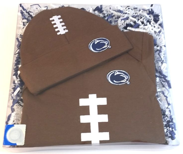 Penn State Nittany Lions Football Onesie and Football Hat Baby Gift Set