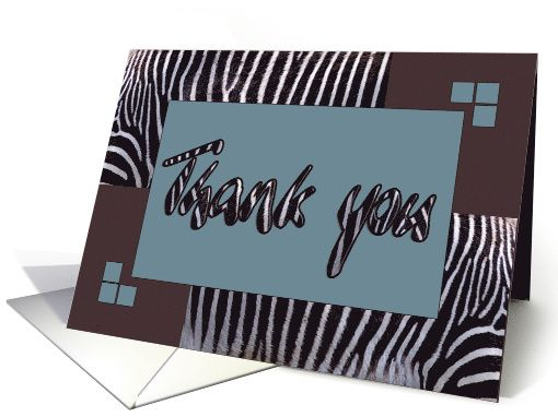 Zebra print Thank you card savannah blue brown blank note card by steppeland