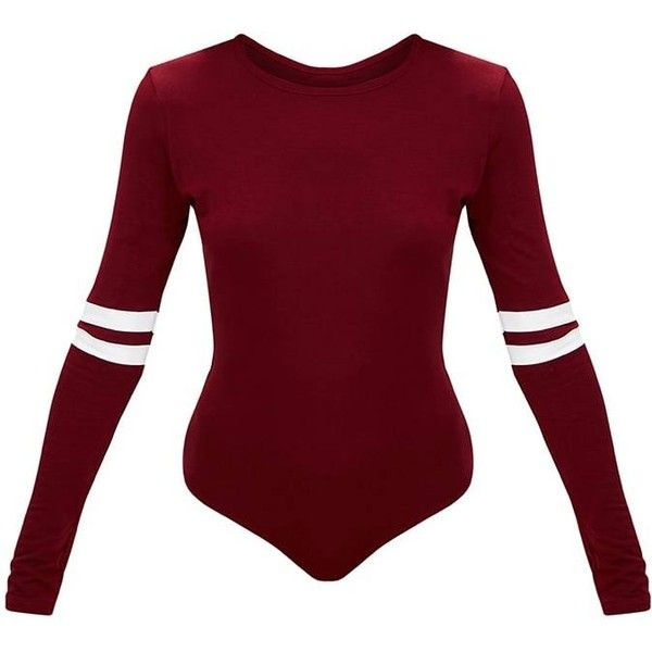 Burgundy Jersey Sport Stripe Longsleeve Bodysuit (243.865 IDR) ❤ liked on Polyvore featuring sports jerseys, striped jersey, sport jerseys and red jersey