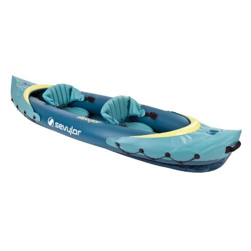 Sevylor C001 Clear Creek 2 Person Kayak. Adjustable, inflatable seats. Spend a comfortable day on the water in the Sevylor Clear Creek 2-Person Kayak. Just in case you do hit a snag, the multiple air chambers will help you get back to shore. Color: Green. The 26-gauge PVC construction lets this kayak stand up to multiple seasons on the lake and is backed up with our Airtight System, which is guaranteed not to leak. Double Lock & Mini Double Lock valves. The adjustable seats let you...