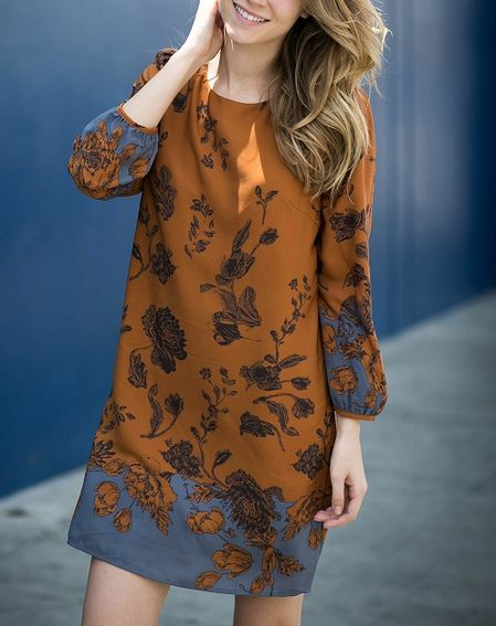 [contemporary] boho midi shift dress in rust – shophearts