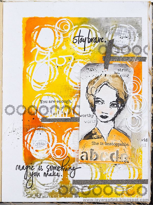 Layers of ink - Stamping with Stencils Tutorial by Anna-Karin. Made for the Simon Says Stamp Monday Challenge Blog with stencils and stamps by Dina Wakley and Ranger. In Dina's Media Journal.