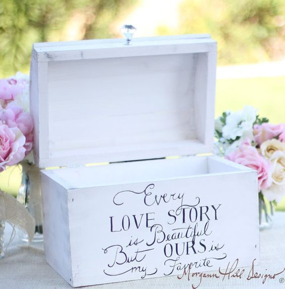 Shabby Chic Decor Inspired Wedding Card Box Hand Painted Keepsake Box