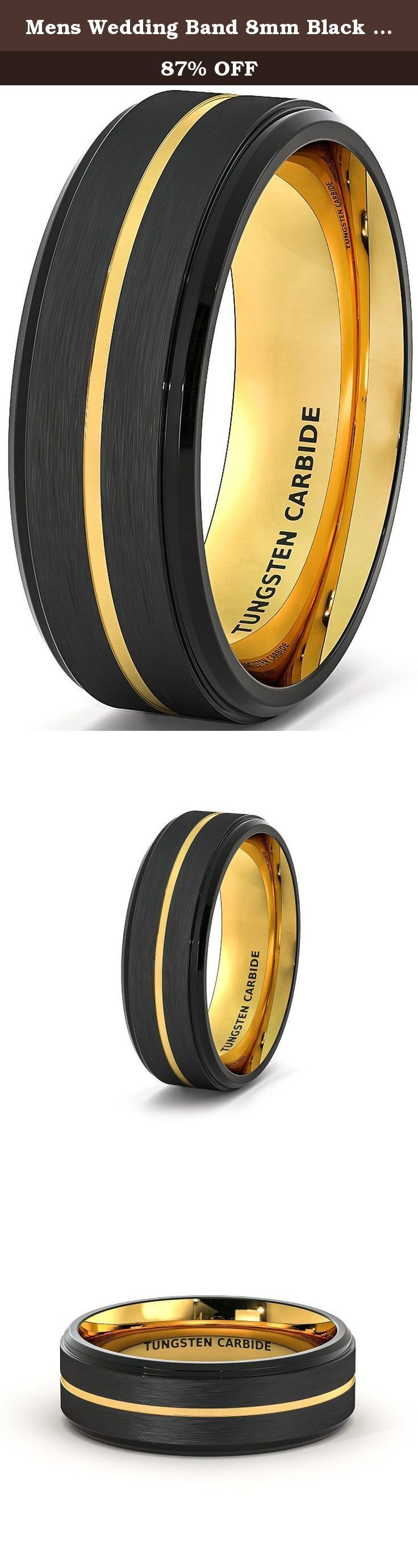 Mens Wedding Band 8mm Black Brushed Tungsten Ring Thin Gold Groove Step Edge Comfort Fit (7.5). Width: 8mm Fit: Comfort Fit Thickness: 2.3mm, Weight: Approximately 12-17g depend on sizes, Surface: Brushed Edge: Step Edge, Color: Black and Gold.