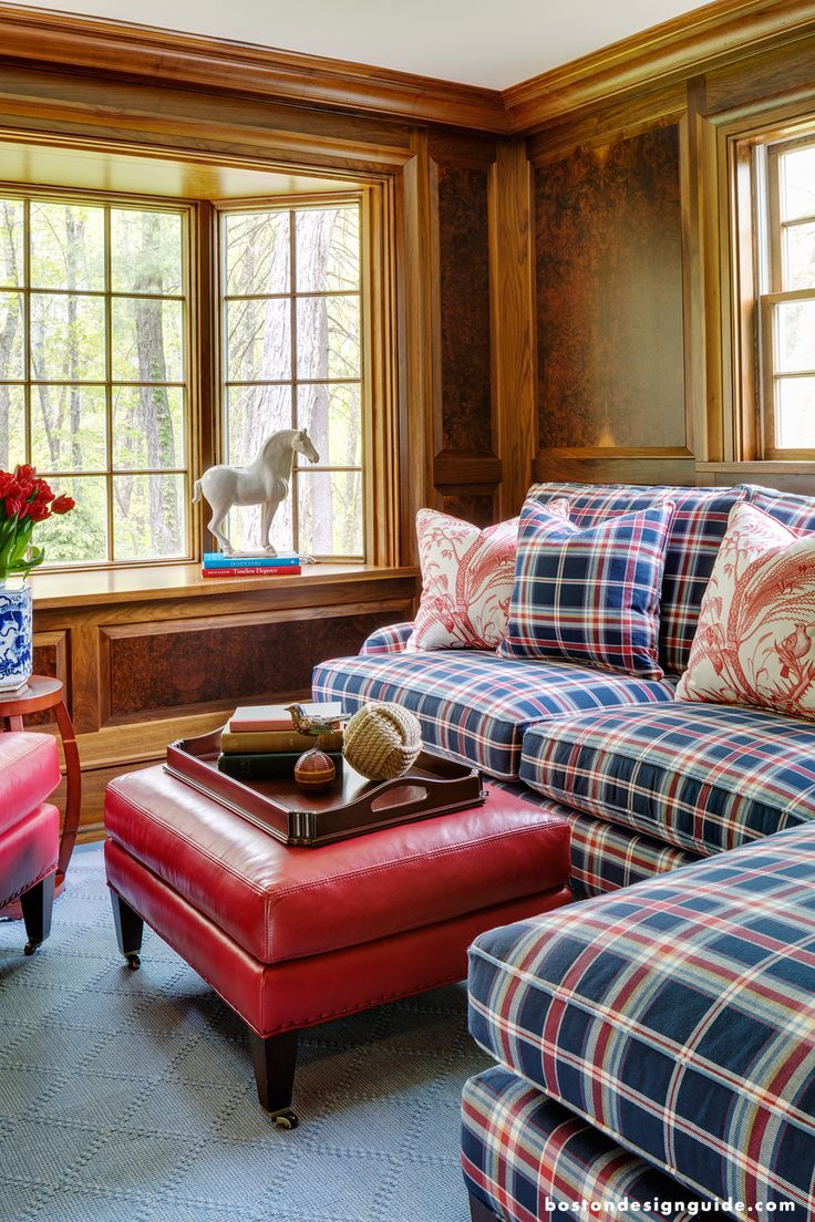 Plaid Couches in this Cozy Living Room (Interior Design by Surroundings Home; Photography by Greg Premru)