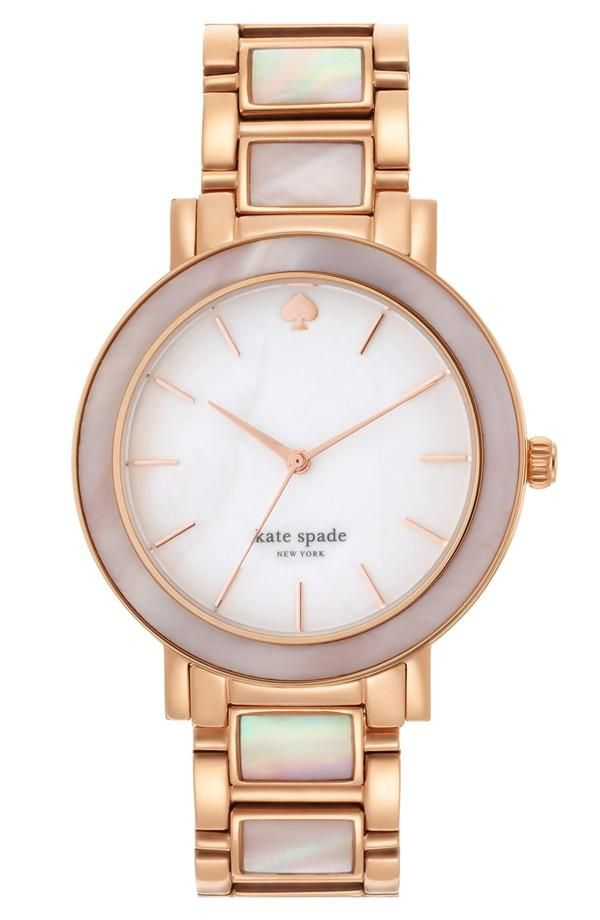 | Kate Spade pink pearl and gold watch