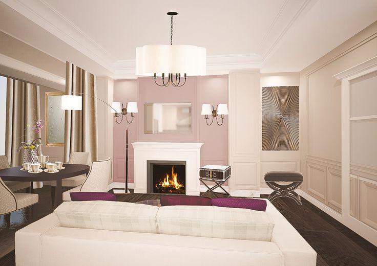 Спокойная цветовая гамма интерьера, приглушенный свет и камин в центре гостиной позволяют окунуться в атмосферу уютного пятничного вечера.