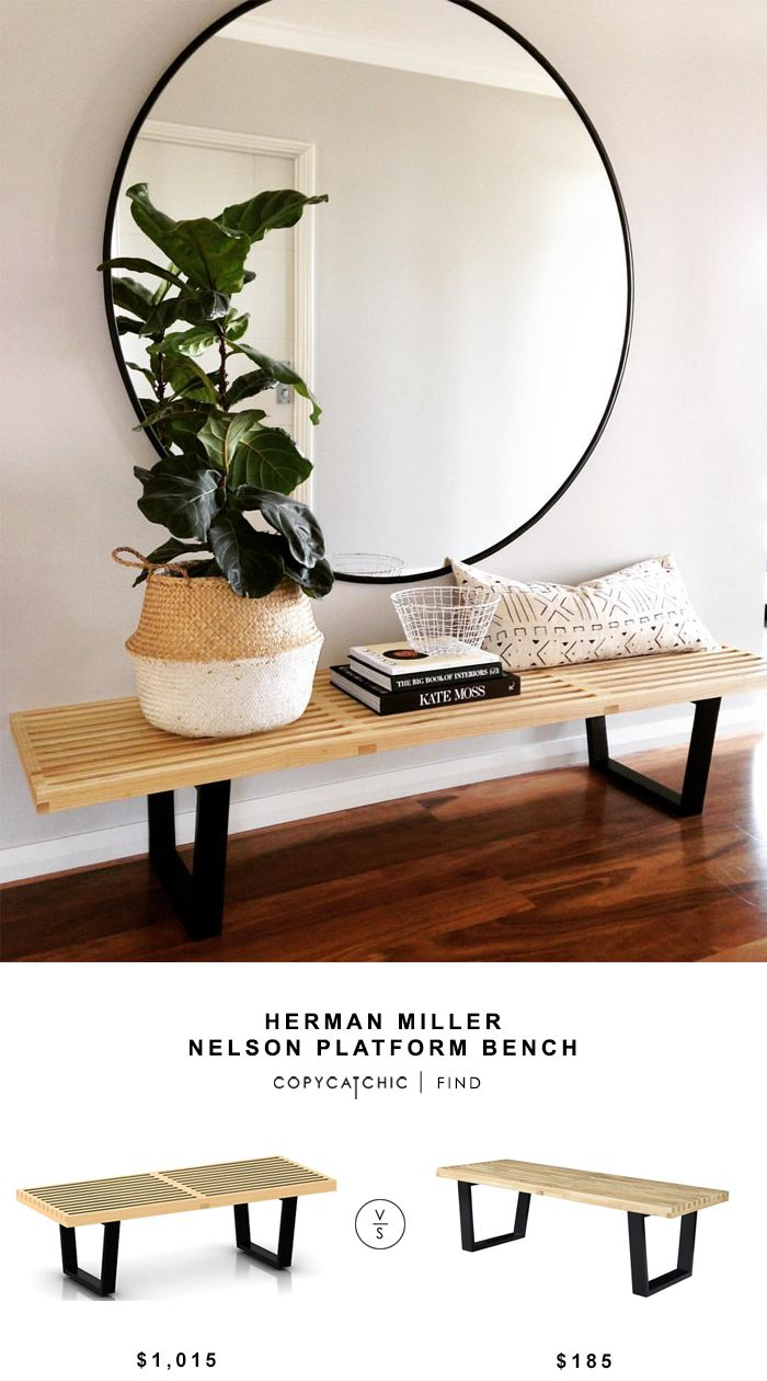 Herman Miller Nelson Platform Bench for $1015 vs Georgbe Nelson Style Bench for $185 copycatchic luxe living for less budget home decor and design http://www.copycatchic.com/2017/02/herman-miller-nelson-platform-bench.html?utm_campaign=coschedule&utm_source=pinterest&utm_medium=Copy%20Cat%20Chic&utm_content=Herman%20Miller%20Nelson%20Platform%20Bench