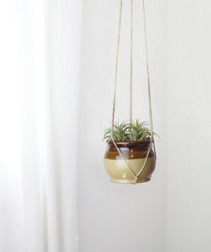 Ombre Jute Macrame Plant Hanger with Vintage Pot