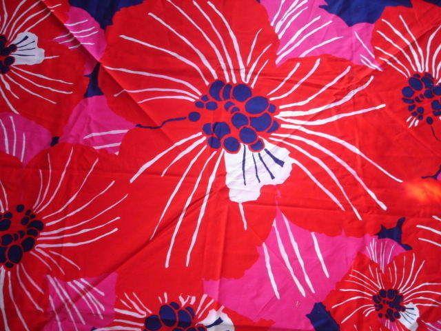 "Tampella Floral Fabric 52.5"" Sq Red/Wht/Blu/Pink Finland Marjatta Metsovaara #TampellaFinland"