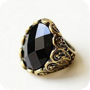 2016 Personalized vintage carved black gem ring finger ring female fashion accessories