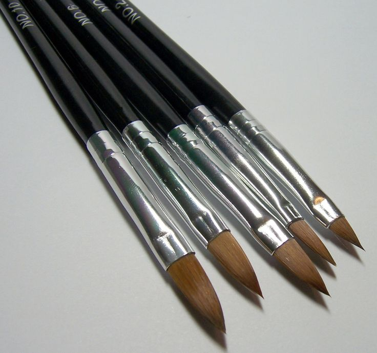 5 oval pointed artist paint brush set no2 no10 for