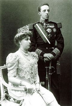 Spain. King Alfonso XIII and Queen Victoria Eugenia (of Battenberg) wedding portrait, Madrid, 1906
